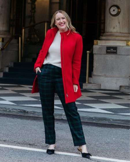 Holiday outfit from Talbots. Plaid pants (6) and red coat (4) and cashmere sweater (M) @liketoknow.it http://liketk.it/337c9 #liketkit