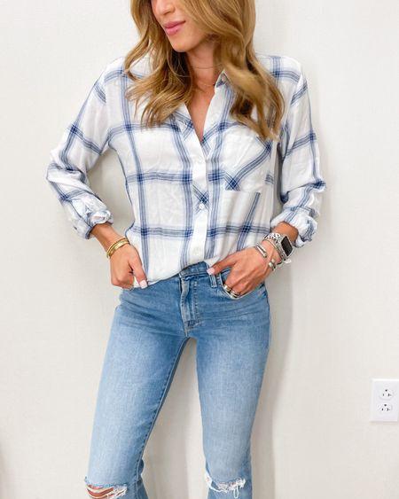 Plaid shirt size Xs, jeans size 24   #LTKsalealert #LTKunder50 #LTKunder100
