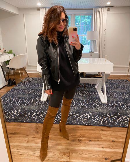 Faux leather bomber jacket (M) Faux leather leggings (M) Over the knee boots (TTS) Sunglasses part of Nsale too! .. Nordstrom anniversary sale, otk boots, faux leather jacket  @liketoknow.it http://liketk.it/3jKrC #liketkit #LTKsalealert #LTKshoecrush #LTKstyletip