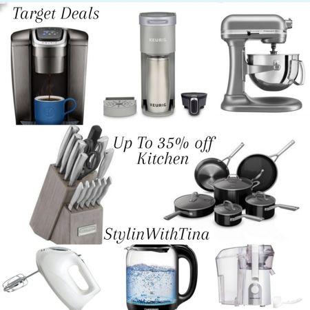 Target Deals 35% off kitchen items Keurig  Kitchen aid mixer Stainless steel knives set Pots/pans Hand mixer http://liketk.it/3i8sw #LTKsalealert #LTKstyletip #LTKunder50 #LTKunder100 #LTKhome #LTKfit #LTKwedding #LTKtravel #ltkkitchen @liketoknow.it #liketkit