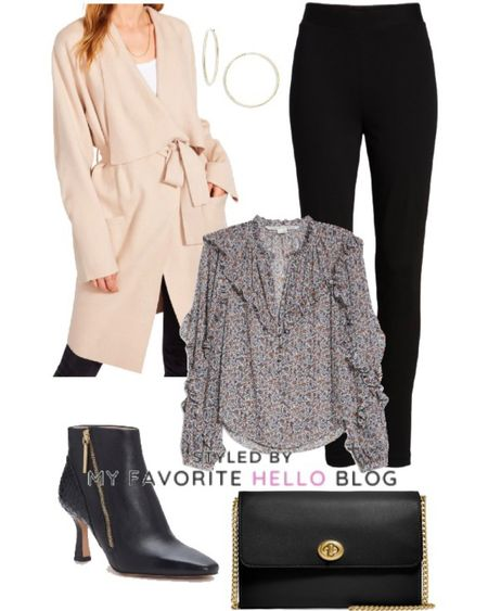 Fall outfit with leggings and coat from Nordstrom anniversary sale. Winter coat with black ankle booties #falloutfit #nsale #nordstrom   #LTKshoecrush #LTKstyletip #LTKworkwear