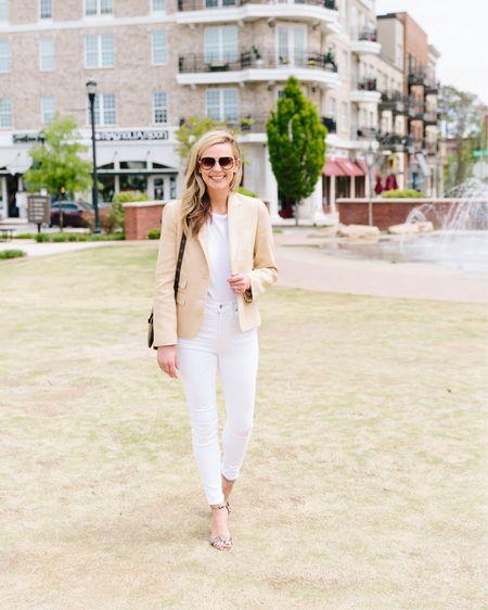 Today's transitional outfit! Y'all know I love my white + tan combo 🤍 http://liketk.it/3ibkT #liketkit @liketoknow.it #LTKstyletip #LTKsalealert #LTKunder50 #evereve #evereveambassador #neutralstyle #whitejeans #tanblazer