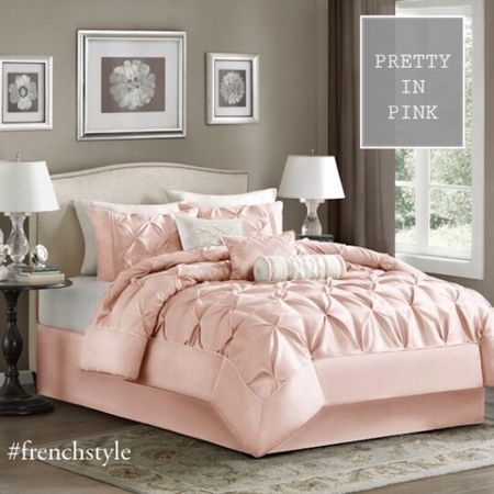Pretty in pink bedding! A gorgeous comforter set with duvet and pillow covers for the à luciously féminine look in the bedroom. #LTKhome #LTKsalealert #LTKSpringSale @liketoknow.it.home http://liketk.it/3c4y3 #liketkit @liketoknow.it