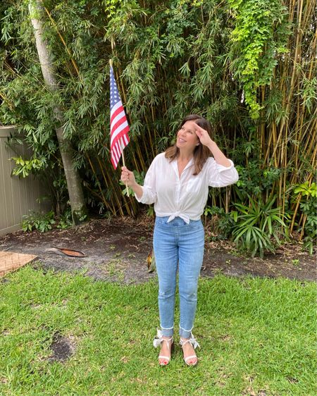 💥Nothing screams Fourth of July more than a white button up, denim bottoms, and my fave white wedges.🇺🇸  I'm so ready for the weekend! What about you?  Link in bio - Shop My Instagram for jeans and shoes.   Top- @grayson , Of course! This weekend only - click my @grayson link in bio and get $30 off ANYTHING, including The Changemaker dress! Swipe to see it! BTW - if you are a regular Grayson fan, buy the dress a size smaller than your usual button up size.👏🏻  #celebrateinstyle #madeinamerica #mystylemyway #over60andfabulous http://liketk.it/3iRhD #liketkit @liketoknow.it Shop your screenshot of this pic with the LIKEtoKNOW.it shopping app