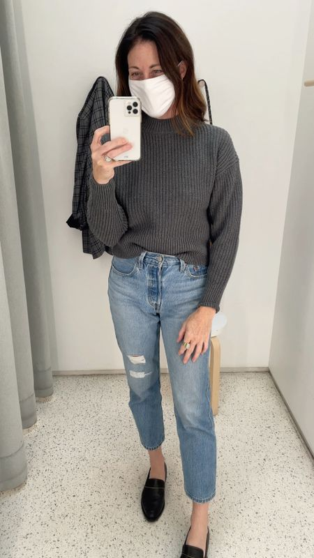The Everlane Cotton Crew is so good! It's cropped and has a fun detail in the back. Fits true to size or size down #everlane   #LTKunder100 #LTKstyletip