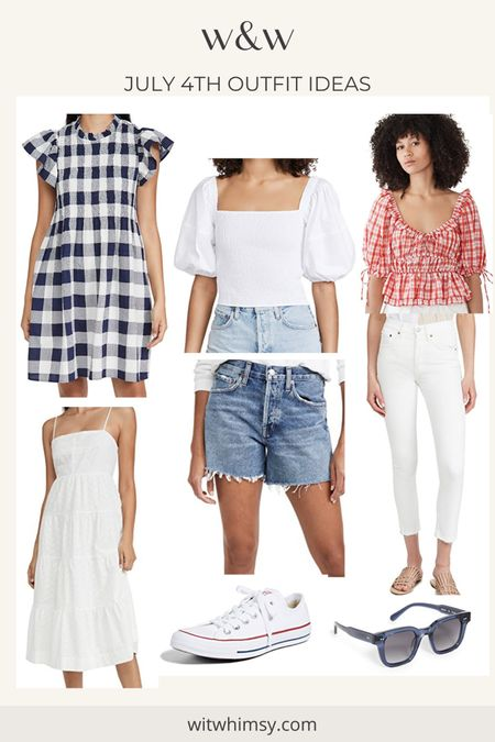 July 4th outfit ideas! Gingham dress, white jeans, puff sleeve tops, little white dress and denim cutoffs @liketoknow.it http://liketk.it/3ha0M #liketkit