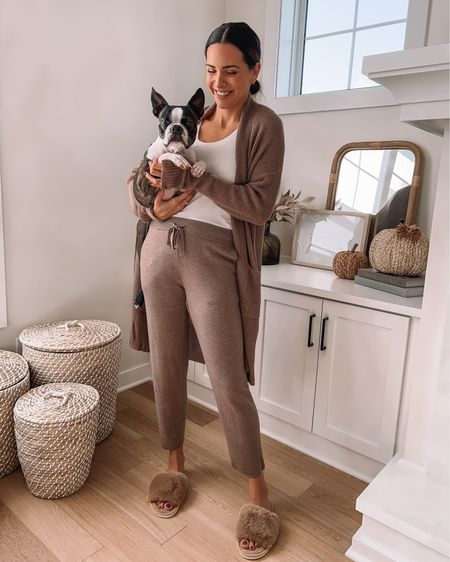 What are you up to this Sunday?! Bruce snuggles are just what the doctor ordered this morning after having a 24 stomach bug. 🐶 AND this comfy fall loungewear from @somaintimates! Linking the pieces in stories and at the link in my bio! #somapartner #somastartswithme  #LTKunder100 #LTKGiftGuide #LTKstyletip