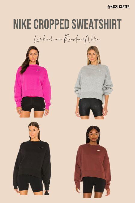 Nike cropped sweatshirt a fall staple! Goes great with workout leggings   #LTKfit #LTKSeasonal #LTKsalealert