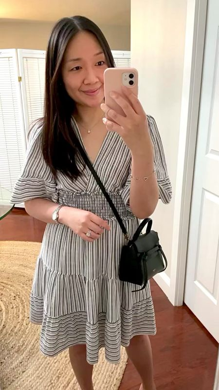 """$29.99 Cute stripe dress with fluttery sleeves. I took size XS and I'm 5' 2.5"""" and 113 pounds.  #LTKunder50 #LTKwedding #LTKunder100"""