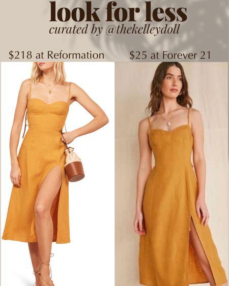 Get the look for less!  Reformation Nebraska Dress $218 vs Yellow Midi Dress from Forever 21 $25   http://liketk.it/2SPc7 @liketoknow.it #liketkit #LTKDay #LTKstyletip #LTKunder50   Summer dress Summer outfit Summer outfit ideas  Yellow sundress Midi dress Dress with slit Tie shoulder dress