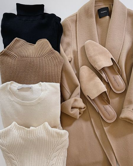Camel Coat, Fall Sweater  🍂 A few favorite fall sweaters from the archives.  Most of these exact sweaters are sold out, but I linked similar options from some of my favorite knitwear brands (Everlane, Free People, etc.) to shop this season.   #tansweater #whitesweater #blacksweater