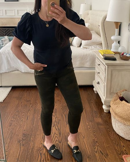 Camo pants, puff sleeve top, black top, mules target style, casual outfit  #liketkit http://liketk.it/3hjjZ @liketoknow.it