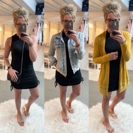 Summer dresses/ date night fashion / Amazon dress size small / best seller/ denim jacket outfit size small/ mustard cardigan / bow sandals fit TTS http://liketk.it/3hePs #liketkit @liketoknow.it #LTKunder50 #LTKstyletip #LTKtravel