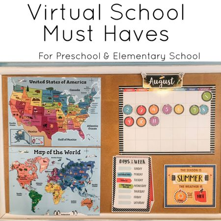 Must haves for homeschool or virtual school elementary, preschool and kindergarten! .  Shop your screenshot of this pic with the LIKEtoKNOW.it shopping app http://liketk.it/2UEdY #liketkit @liketoknow.it #LTKfamily #LTKhome playroom decor kids desk homeschooling
