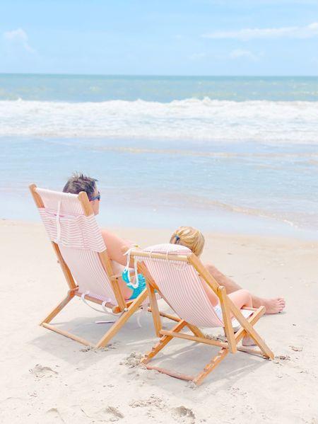 Beach / chair / beach chair / pink / stripe / mommy and me / matching   #LTKfamily #LTKsalealert #LTKswim