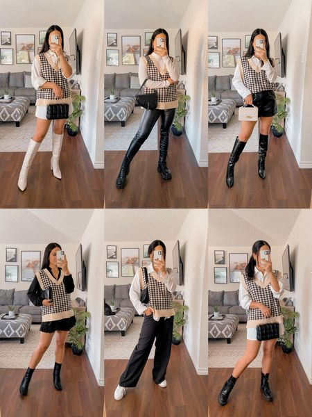 1 sweater vest styled 6 ways • use code Q3YGJESS for 15% off SHEIN  sweater vest, knee high boots, textured bag, leather pants, turtleneck long sleeve bodysuit, leather shorts, quilted bag, saddle bag, white button up blouse, black Amazon dress, trendy boots, black trousers pants, baguette bag, white sneakers, button up blouse tunic dress, combat boots, chunky boots, fall outfits, fall style, fall fashion, fall trends    #LTKsalealert #LTKSeasonal #LTKHoliday
