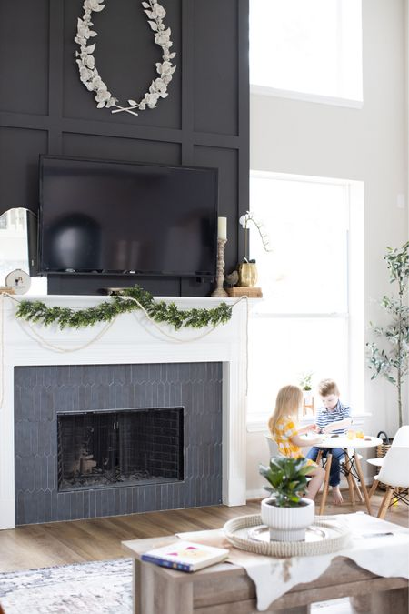 This transformation will never get old to me 😍 talk about breathing new life into a space!  I've linked what I could on the @liketoknow.it app! The wreath is Restoration Hardware Baby! http://liketk.it/3ennA    #liketkit #beforeandafter #livingroomremodel #interiordesign #interiordecorating #transformation #fireplace #sherwinwilliams