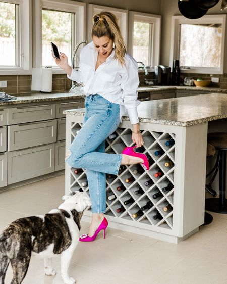 A classic white button down, straight leg jeans, & a sassy pair of heels....find a more perfect outfit, I dare you! The bulldog is a nice touch, too 🐶 (FYI these $27 dollar jeans from Walmart are IDENTICAL to the 90's style AGolde pairs you've probably seen this season!) I'm wearing a size 6!  http://liketk.it/3bogE #liketkit @liketoknow.it #LTKstyletip #LTKshoecrush #LTKunder50 #KERRentlyWearing