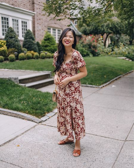 A floral dress to transition you from summer to fall. Love the puff sleeves and leg slit. Paired with a blush Chloe Drew bag and brown sandals.  Fall outfit, fall dress, wedding guest dress, Abercrombie, puff sleeve dress, burgundy dress, midi dress, petite dress.   #LTKstyletip #LTKunder100 #LTKwedding
