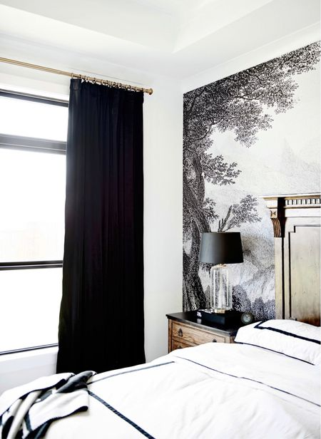 These Amazon curtains are incredible! They are so inexpensive and are so beautiful!  Amazon home, Amazon Finds, Home decor, black curtains, black Decor, black and white bedroom, target home, target finds, target lamp, glass lamp, white bedding, duvet, pottery barn, restoration hardware, bedroom furniture, nightstands,  #LTKstyletip #LTKhome #LTKSeasonal