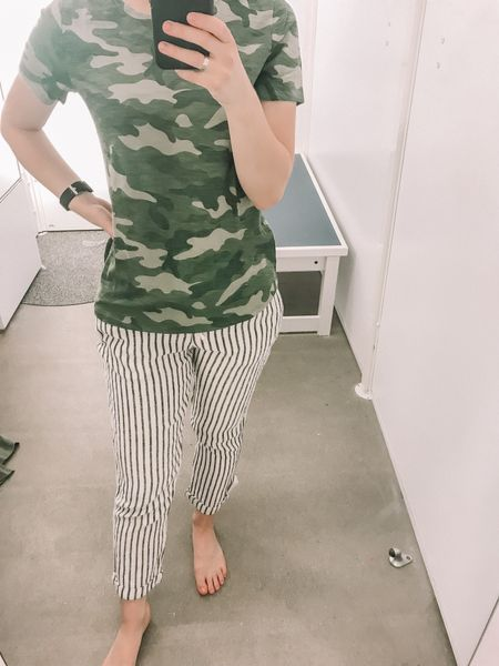 Old Navy Spring Arrivals! I can't get over these striped linen pants! They are cropped which fits for shorter legs too! They run TTS and alsoncome in a chambray Style as well. Camo top runs smaller, I sized up one. http://liketk.it/2AoIw #liketkit @liketoknow.it #LTKunder100 #LTKunder50 #LTKstyletip #LTKsalealert
