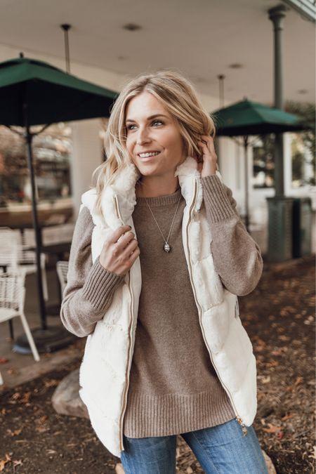 Tan sweater with a faux fur vest and jeans 🤍  #LTKstyletip #LTKunder100 #LTKSeasonal