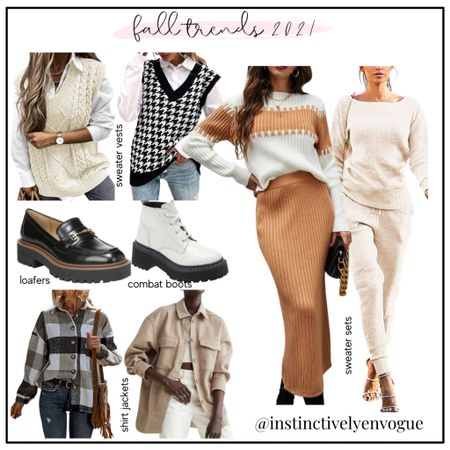 Fall fashion trends, fall outfits, shacket, shackets, shirt jacket, loafers, combat boots, sweater vest, sweater vests, matching sets, sweater sets   #LTKstyletip #LTKunder100 #LTKshoecrush