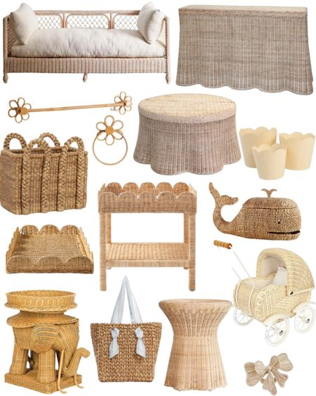 Wicker & Rattan round up of so many of our favorite pieces! 🤎  I love our wicker scalloped side table for $99!   Charleston's wicker doll pram is so sweet in person!   I'm using this Pamela Munson straw bag as a diaper bag!   Scalloped tray scalloped console table home decor wicker basket straw basket toy storage orchid planter bathroom accessories towel bar towel rack daybed elephant side table nursery side tables   #LTKfamily #LTKhome