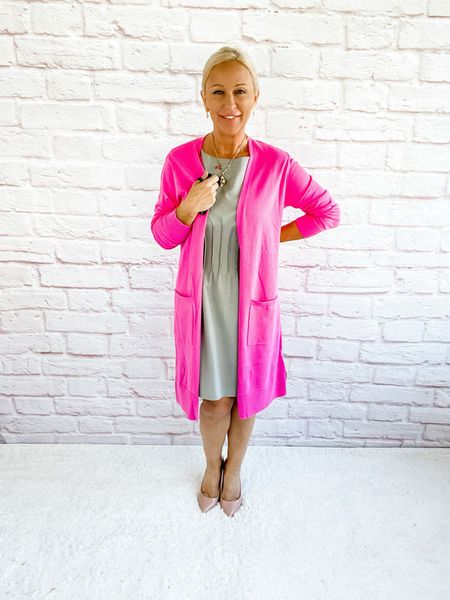 Long pink cardigan is perfect for the office this Autumn!  Workwear / Work Wear / Office Look / Office Outfit / Business Casual / Office Casual / Work Outfit / Tory Burch / Kate Spade /  Coach Handbags / Handbag /petite / over 40 / over 50 / over 60 / Fall Outfit / Fall Fashion    #LTKworkwear #LTKSeasonal #LTKstyletip
