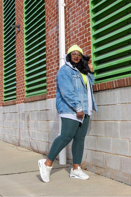 Air max, oversized hoodie,  girlfriend jean jacket, leggings  #LTKcurves #LTKfit #LTKfamily