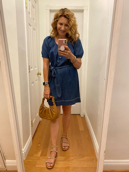 Love a denim dress paired with a cute little bag. If you can't find the color or size you want you may find it in store.    #LTKunder50 #LTKunder100
