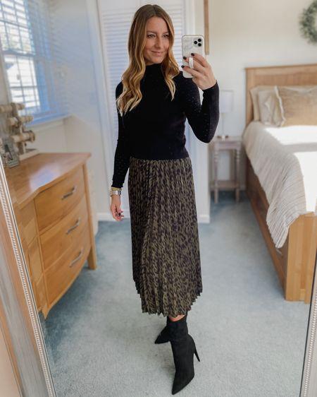 Black crop turtleneck sweater, olive green leopard midi skirt, black boots  http://liketk.it/32X5K #liketkit @liketoknow.it #LTKunder50 #LTKstyletip