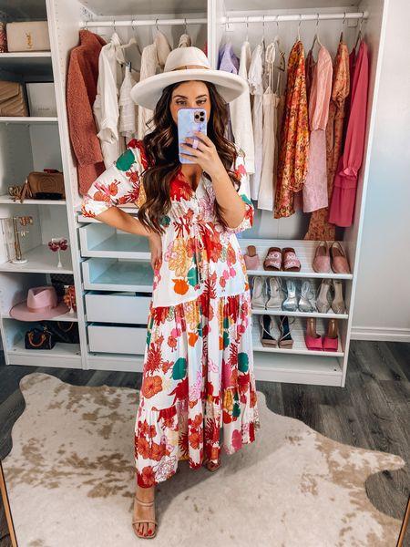Spring dress 20% off with Maxie20 (xs), lack of color hat   Easter dress, wedding guest dress, spring outfit, vacation outfit   #LTKwedding #LTKunder100 #LTKsalealert