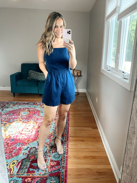 So obsessed with this chambray romper! And it's on sale! Also linked these suede heels   #LTKsalealert #LTKshoecrush #LTKunder50
