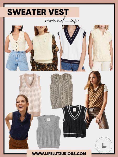Sweater Vest Round-Up, Fall Fashion, Fall Sweaters, Fall Vests   #LTKstyletip #LTKSeasonal