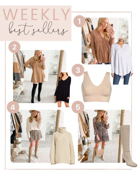 This weeks best sellers are in! You all are loving knee high boots, the best bralette and oversized sweaters and dresses!   #LTKstyletip #LTKunder100 #LTKsalealert