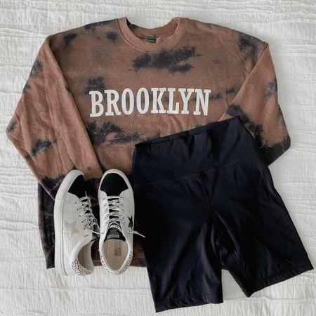 Oversized sweatshirt, tie dye sweatshirt, Brooklyn, target style, target finds, biker shorts, fashion sneakers, casual style, on the go look   #LTKsalealert #LTKshoecrush #LTKunder100