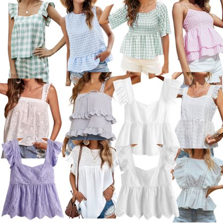 The prettiest gingham, eyelet and flutter sleeve tops for summer! http://liketk.it/3gOMm #liketkit @liketoknow.it