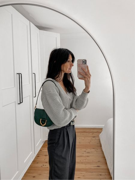 Today's outfit details. Wearing a grey knitted cardigan with charcoal grey trousers, and a pop of colour in my bag 💕  #LTKaustralia #LTKSeasonal
