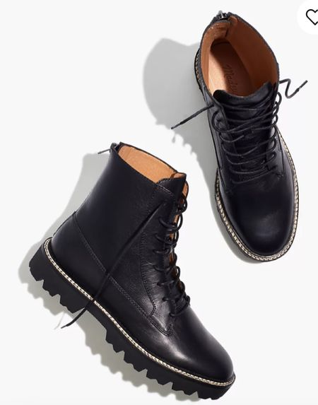 Combat boots go with everything in your closet. Perfect fall boot. Lug sole boots. Black boots. Fall boots. Fall style. Fall outfit. Fall closet refresh. Must-have fall shoe. Leather boots. 20% off everything plus more.  #LTKsalealert #LTKshoecrush #LTKSale