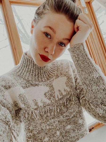 My favourite fair isle sweater and red lipstick!  #LTKNewYear #StayHomeWithLTK #LTKunder100