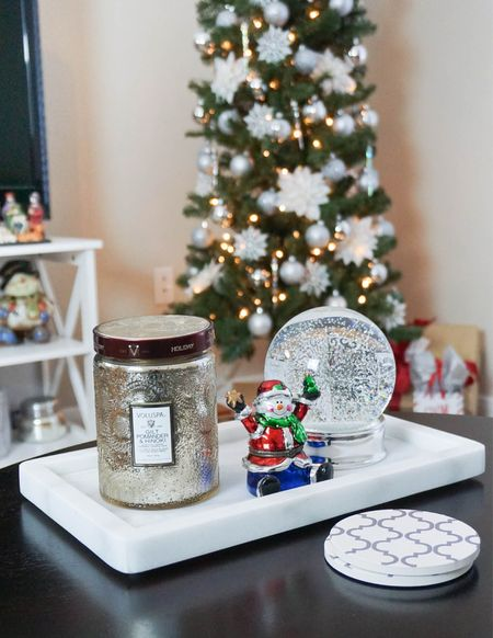 Holiday home decor / Christmas tree / holiday candle / small marble tray / Christmas decorations / white absorbent coasters / coffee table and living room   #LTKunder100 #LTKhome #LTKHoliday