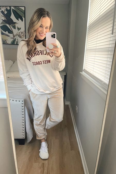 Amazon fashion finds: my sweatshirt, velour joggers, black turtleneck, white sneakers and gold hoops are all amazon finds http://liketk.it/373MF #liketkit @liketoknow.it #StayHomeWithLTK #LTKfit #LTKunder50