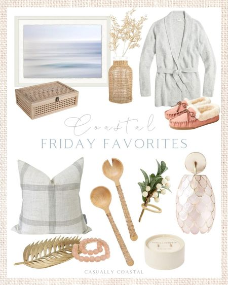 This week's Friday Faves, including a beautiful plaid pillow that will take you through winter, and a gorgeous capiz sconce! - home decor, decor under 50, home decor under $50, fall decor, fall decorations, fall home decorations, coastal decor, beach house decor, beach decor, beach style, coastal home, coastal home decor, coastal decorating, coastal interiors, coastal house decor, home accessories decor, coastal accessories, beach style, blue and white home, blue and white decor, neutral home decor, neutral home, natural home decor, coastal artwork, large artwork, living room artwork, coastal art, coastal prints, coastal art prints, prints decor, prints on a wall, large art prints, large artwork,, wall art large, blue artwork, rattan vase, textured vase, fall vase, woven vase, fall stems, fall decor, J.Crew Factory sweaters, gray cardigans, cardigans with belt, cardigans with tie, wrap cardigans, fall sweaters, pink slippers, women's slippers, winter slippers, warm slippers, wood decorative box, bookshelf decor, dried flowers, fall stems, faux flowers, holiday pillows, plaid pillows, christmas pillows, 20x20 pillows, neutral fall pillows, neutral throw pillows, winter throw pillows, decorative bowl, decorative tray, decorative beads, sea glass beads, thanksgiving napkin rings, holiday napkin rings, christmas napkin rings, fall tablescape, thanksgiving tablescape, holiday tablescape, pumpkin candles, target candles, fall candles, wood serving set, rattan serving set, hostess gifts, bathroom sconces, capiz sconces, hallway sconces, office sconces, coastal sconces, coastal lighting, sconces for girls bedroom, bedroom sconces, sconces for beach house, anthropologie, etsy pillows  #LTKunder50 #LTKsalealert #LTKhome