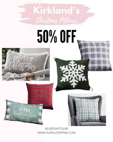 Get your home cozy for Christmas with these adorable Christmas pillows from Kirkland's! Select pillows are on sale 50% off today!    #LTKsalealert #StayHomeWithLTK #LTKhome