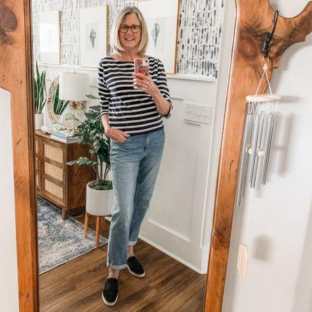 Boyfriend jeans, striped tee, black slip-on sneakers http://liketk.it/3dRvK #liketkit @liketoknow.it
