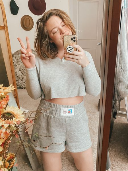 Made a matching set out of two separately purchased grey pieces ✨ since the shorts are out of stock, I've tagged most similar ones I can spot! Henley tops are super affordable basics and these fleece shorts transition well to fall in Texas.   #LTKunder100 #LTKcurves #LTKstyletip