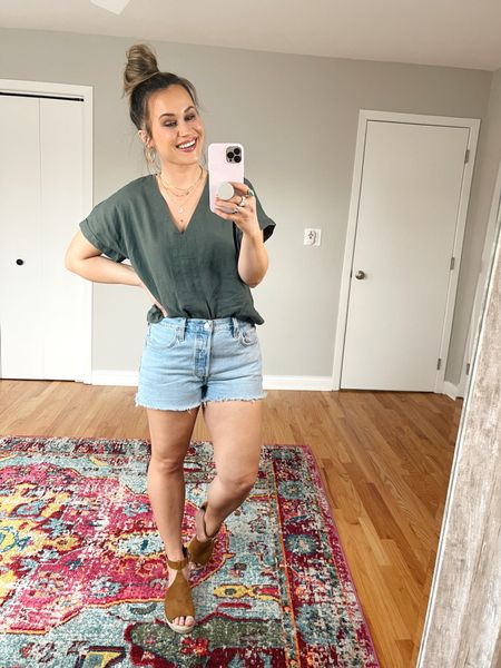 Target Finds: This linen top is a madewell dupe and only $15! My jean shorts are BOGO 50% off, they run small, size up! and my wedges are an amazon fashion find! So cute, the perfect spring shoes.   #LTKsalealert #LTKshoecrush #LTKunder50