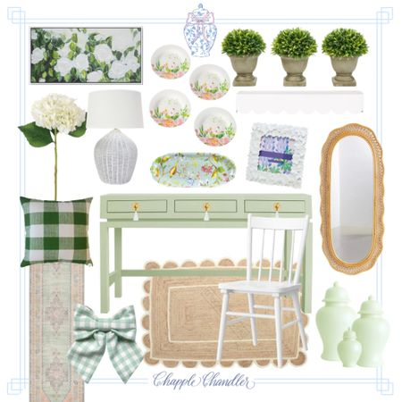 Green and white office decor scalloped jute rug runner boxwood topiary rattan scalloped mirror hydrangea faux floral gingham pillow flower plates decorative plates painting flower frame white wicker lamp green Ginger jars accents home decor home office  #LTKhome #LTKunder50 #LTKfamily