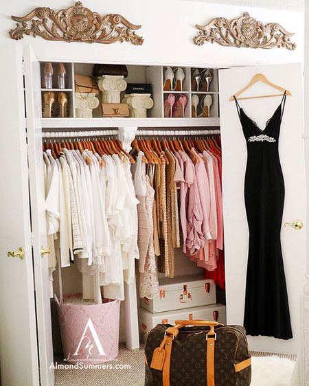 Super cute & feminine way to organize your closet using these simple closet storage ideas. Shoe storage rack made simple. Closet hangers with pearls and wooden hangers look stylish. Closet decorations that are affordable.  http://liketk.it/2Ow5e #LTKstyletip #LTKhome #liketkit @liketoknow.it @liketoknow.it.home Follow me on the LIKEtoKNOW.it shopping app to get the product details for this look and others